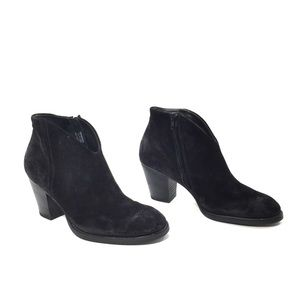 Paul Green Shoes - Paul Green Black Distressed Suede Ankle Booties
